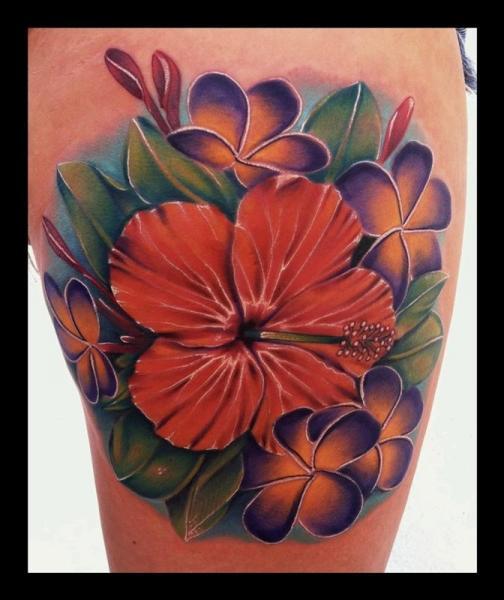 Realistic Leg Flower Tattoo by Art Junkies Tattoos