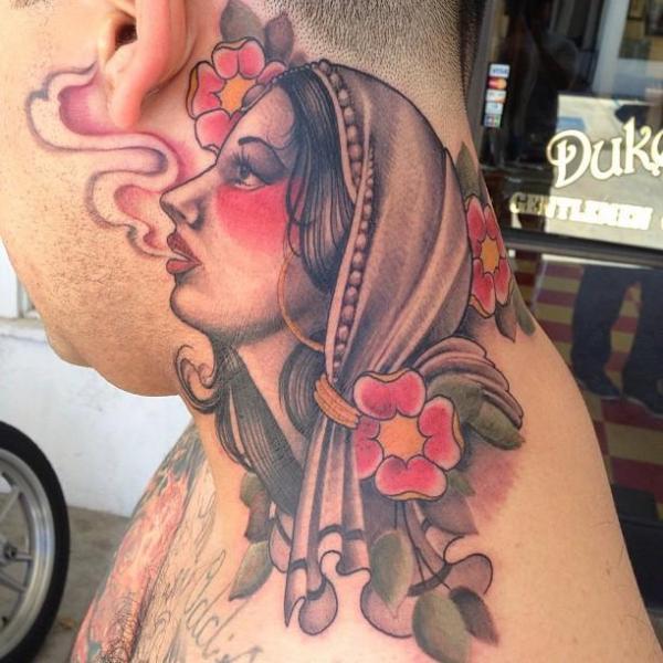 Shoulder New School Neck Gypsy Tattoo by Art Junkies Tattoos