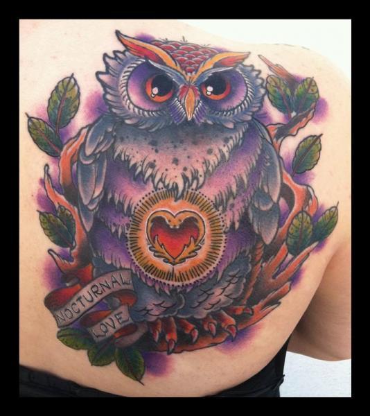 Shoulder New School Owl Tattoo by Art Junkies Tattoos
