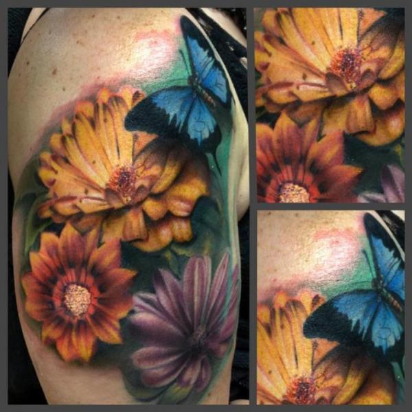 Shoulder Realistic Flower Butterfly Tattoo by Art Junkies Tattoos