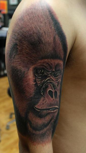 Shoulder Realistic Gorilla Tattoo by Art Junkies Tattoos
