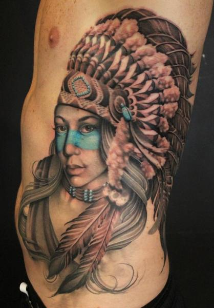 Realistic Side Indian Tattoo by Art Junkies Tattoos