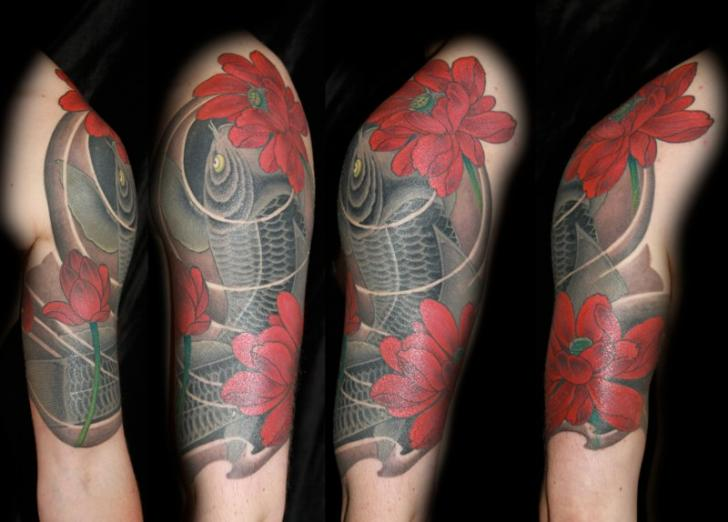 Arm Japanese Carp Tattoo by 1969 Tattoo