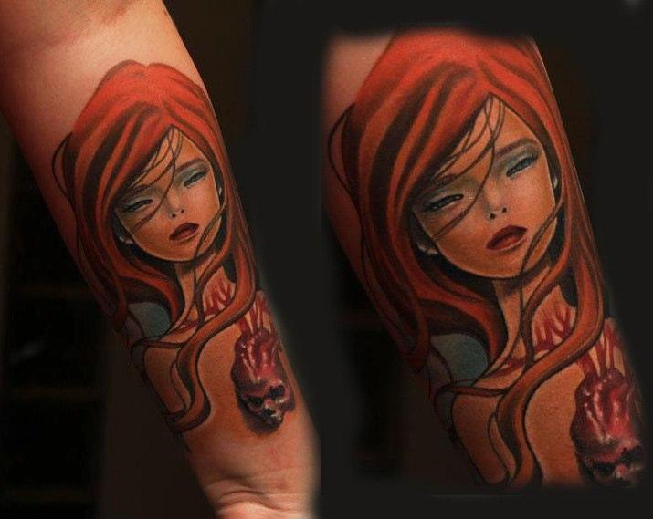 Arm Frauen Charakter Tattoo von 1969 Tattoo