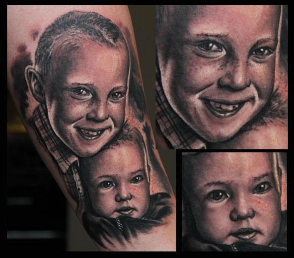 Arm Porträt Realistische Kinder Tattoo von 1969 Tattoo