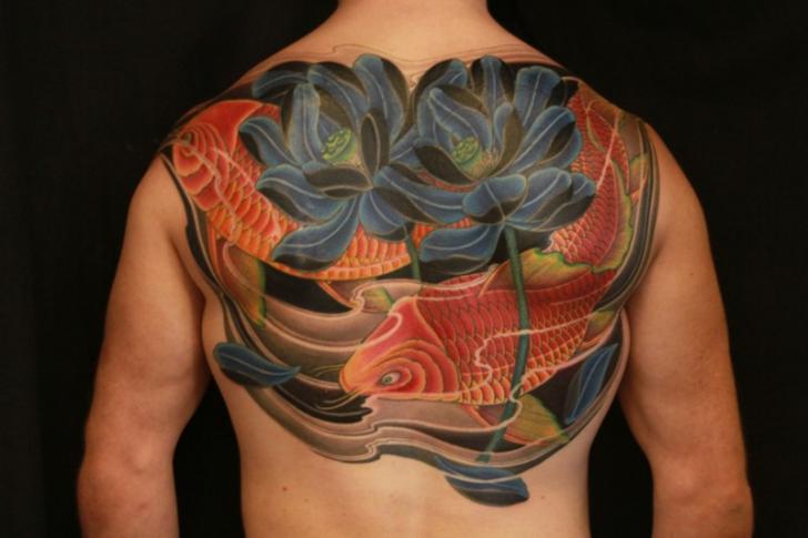 Flower Japanese Back Carp Koi Tattoo by 1969 Tattoo
