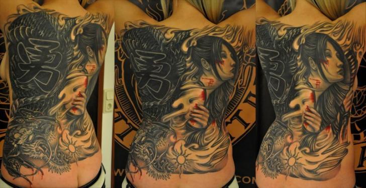 Japanese Back Geisha Tattoo by 1969 Tattoo