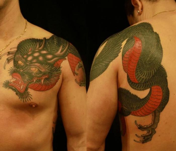Tatuaggio Spalla Giapponesi Draghi di 1969 Tattoo
