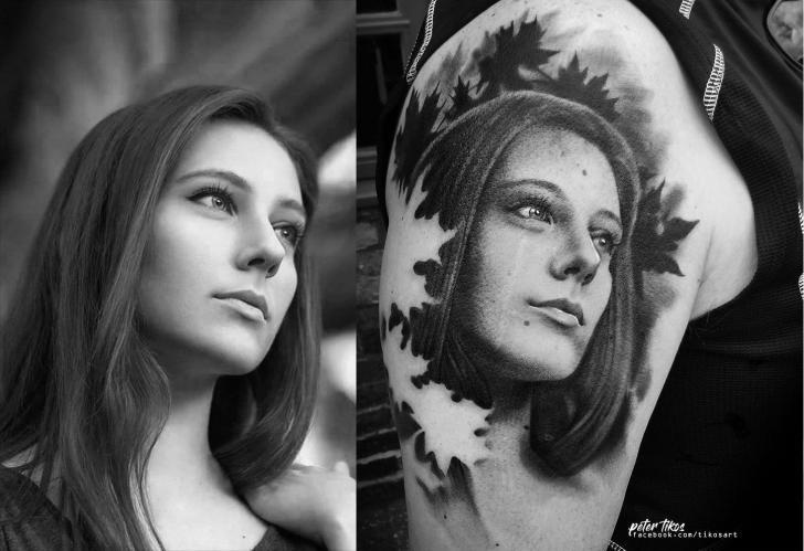 Shoulder Portrait Realistic Woman Tattoo by 1969 Tattoo