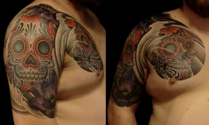 Shoulder Chest Skull Tattoo by 1969 Tattoo