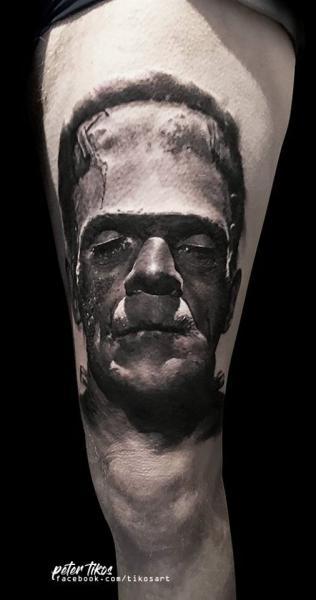 Frankenstein Thigh Tattoo by 1969 Tattoo