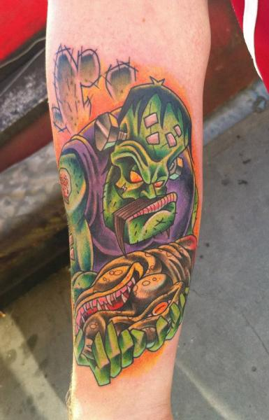 Arm Fantasy Frankenstein Tattoo by Evil From The Needle