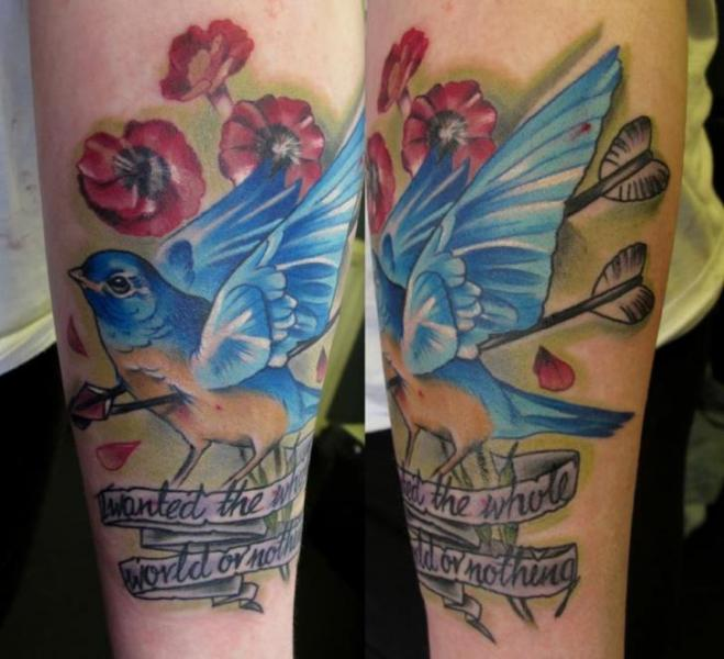Arm Realistic Lettering Bird Tattoo by Evil From The Needle
