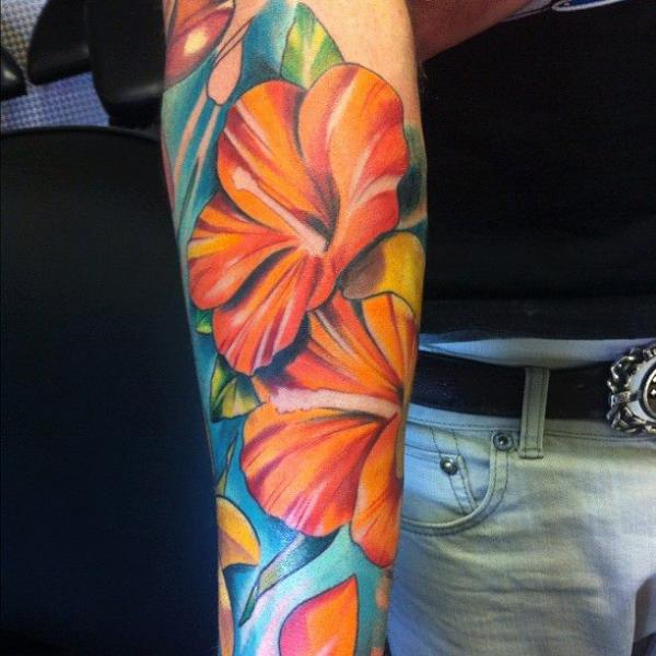 Arm Realistic Flower Tattoo by Evil From The Needle