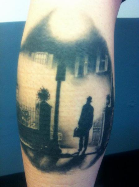 Calf Landscape Men Tattoo by Evil From The Needle