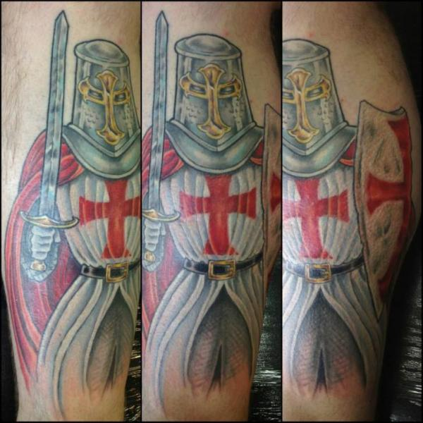 Realistic Calf Warrior Tattoo by Evil From The Needle