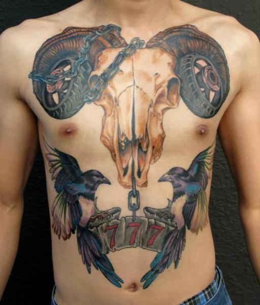 Chest Skull Belly Bird Tattoo by Evil From The Needle