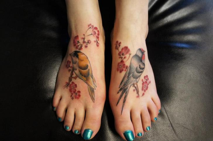 Realistic Foot Flower Bird Tattoo by Evil From The Needle