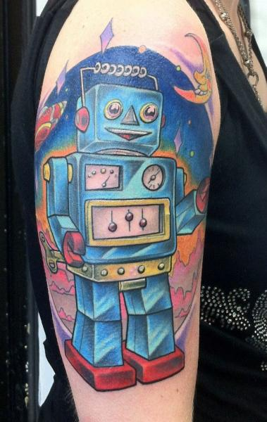 Shoulder Fantasy Robot Tattoo by Evil From The Needle