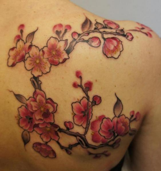 Shoulder Realistic Flower Cherry Tattoo by Evil From The Needle