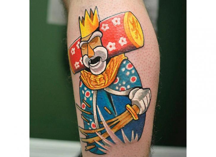 Fantasy Calf Tattoo by Rogue Leader Tattoo