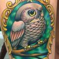 Owl Medallion Thigh tattoo by Rogue Leader Tattoo