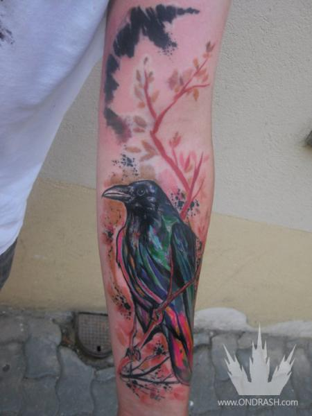 Arm Crow Tattoo by Ondrash Tattoo