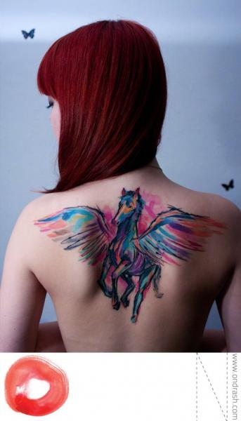 Fantasy Back Wings Horse Tattoo by Ondrash Tattoo