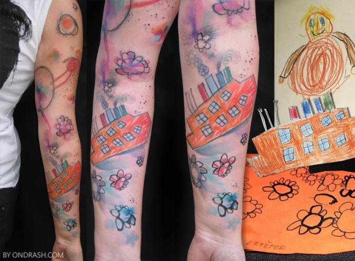 Zeichnung Sleeve Tattoo von Ondrash Tattoo