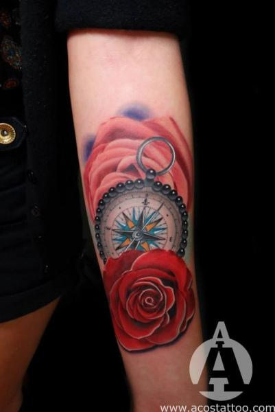 Arm Flower Compass Tattoo by Andres Acosta
