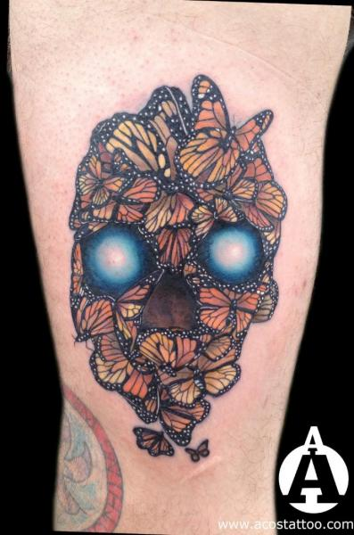 Arm Skull Butterfly Tattoo by Andres Acosta