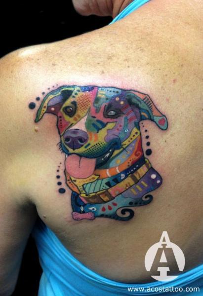 Tatuagem Fantasia Cachorro Costas por Andres Acosta