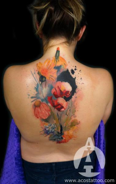 Flower Back Tattoo by Andres Acosta