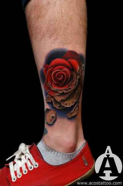 Leg Flower Tattoo by Andres Acosta