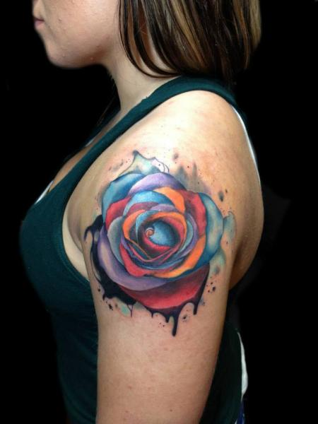 Shoulder Flower Tattoo by Andres Acosta