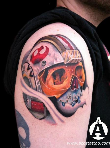 Shoulder Skull Helmet Tattoo by Andres Acosta