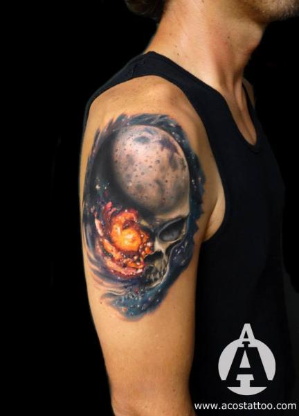 Shoulder Skull Tattoo by Andres Acosta