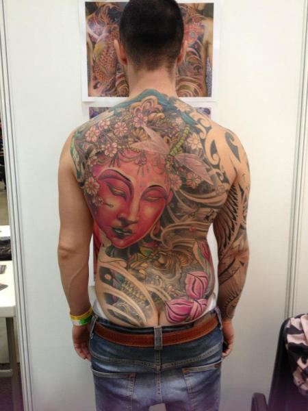 Japanese Buddha Back Tattoo by Silvercrane Tattoo