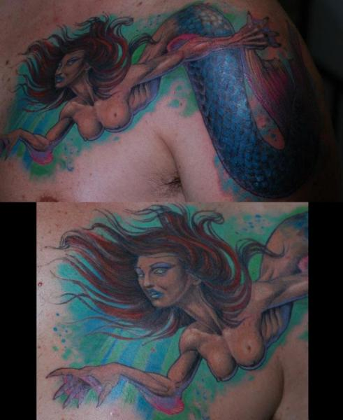 Fantasy Chest Siren Tattoo by Silvercrane Tattoo