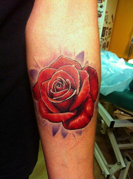 Arm Flower Rose Tattoo by Roman Kuznetsov Tattoo