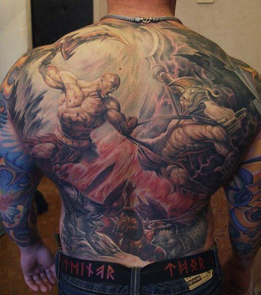 Fantasy Back Warrior Tattoo by Roman Kuznetsov Tattoo