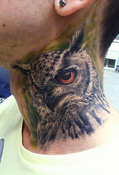 Realistic Neck Owl Tattoo by Roman Kuznetsov Tattoo