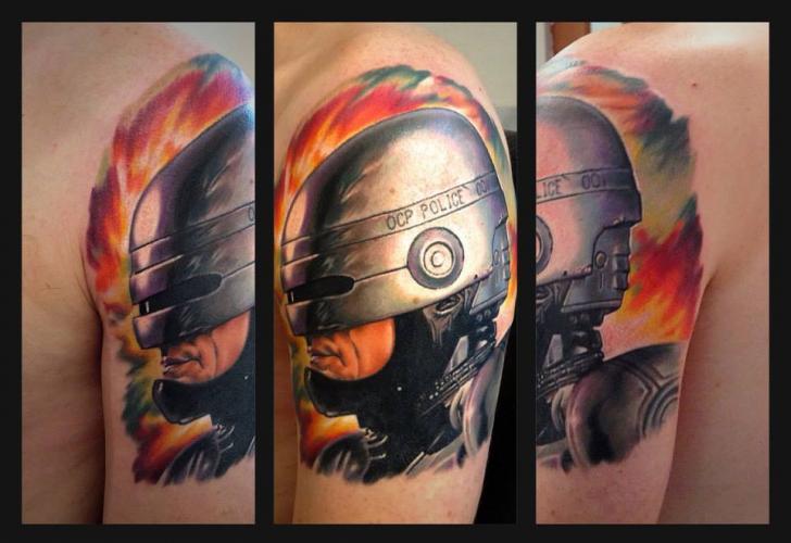 Shoulder Fantasy Robocop Tattoo by Roman Kuznetsov Tattoo