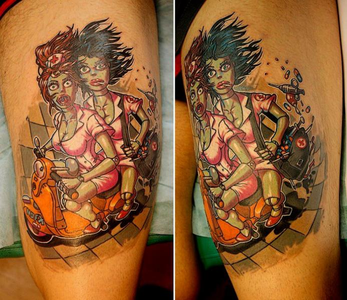 Tatuaje Fantasy Enfermera Robot Muslo por Roman Kuznetsov Tattoo