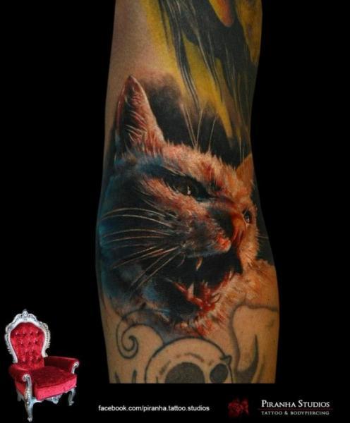 Arm Realistic Cat Tattoo by Piranha Tattoo Supplies