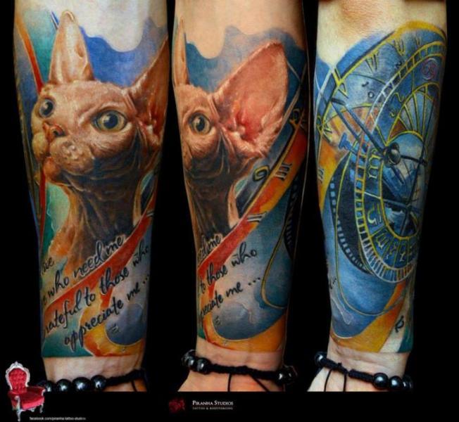 Arm Realistic Clock Cat Tattoo by Piranha Tattoo Supplies