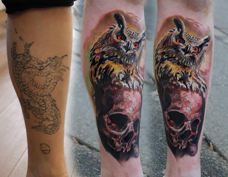 Arm Realistic Skull Owl Tattoo by Piranha Tattoo Supplies