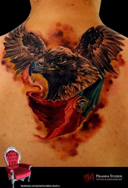 Realistic Back Eagle Flag Tattoo by Piranha Tattoo Supplies