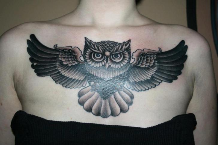 Old School Owl Breast Tattoo by Piranha Tattoo Supplies