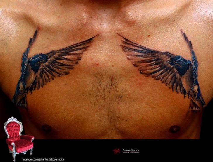 Realistic Chest Bird Tattoo by Piranha Tattoo Supplies